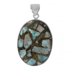 Oval Copper & Larimar Pendant, Sterling Silver