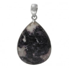 Teardrop Lepidolite Pendant, Sterling Silver