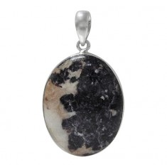 Oval Lepidolite Pendant, Sterling Silver