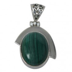 Oval Malachite Pendant, Sterling Silver