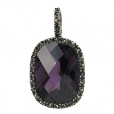 Rectangular Purple Marcasite Pendant, Sterling Silver