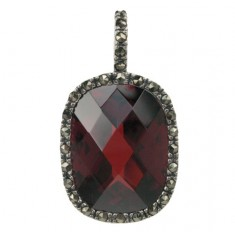Rectangular Red Marcasite Pendant, Sterling Silver