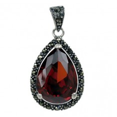 Teardrop Red Marcasite Pendant, Sterling Silver