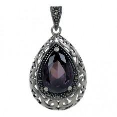 Teardrop Purple Marcasite Pendant, Sterling Silver