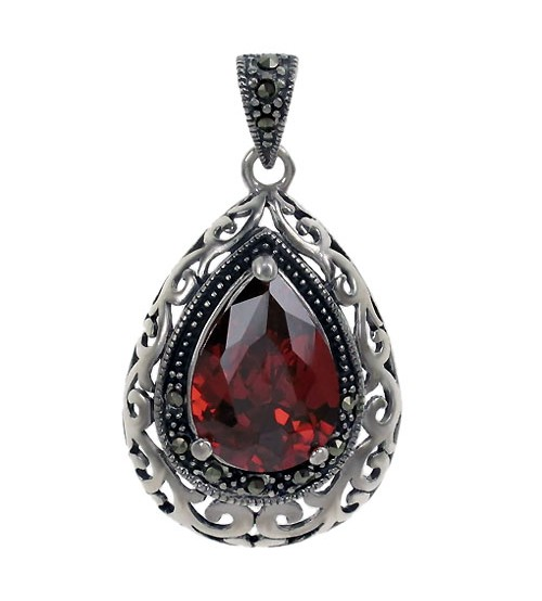 Teardrop Red Marcasite Pendant, Sterling Silver