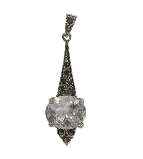 Oval Clear Marcasite Pendant, Sterling Silver