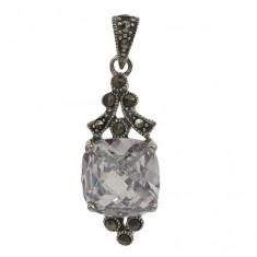 Square Clear Marcasite Pendant, Sterling Silver