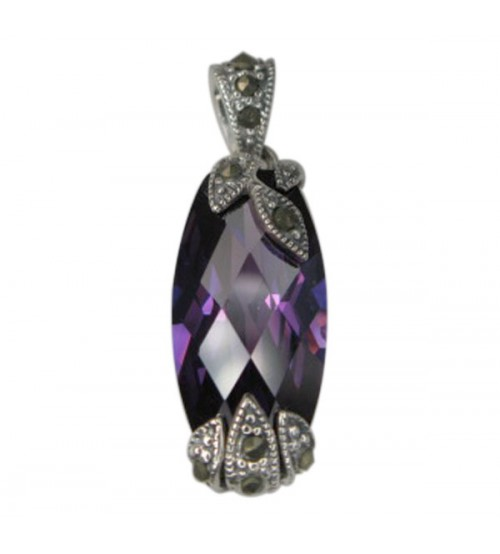 Rounded Rectangular Purple Marcasite Pendant, Sterling Silver