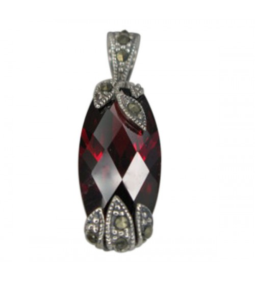 Rounded Rectangular Red Marcasite Pendant, Sterling Silver