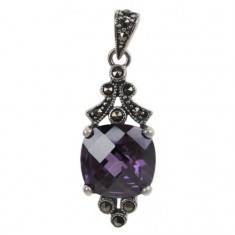 Square Purple Marcasite Pendant, Sterling Silver