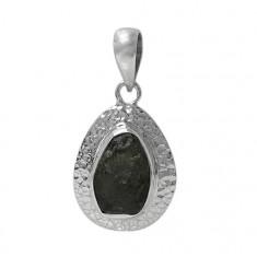 Free Form Moldavite Pendant, Sterling Silver