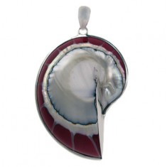 Red Shell Pendant, Sterling Silver