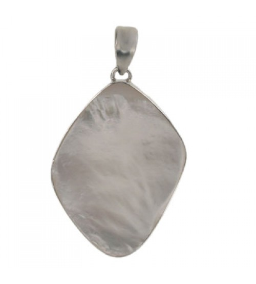 Free Form Mother of Pearl Pendant, Sterling Silver