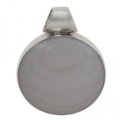 Round Mother of Pearl Pendant, Sterling Silver