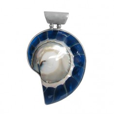 Blue Shell Pendant, Sterling Silver