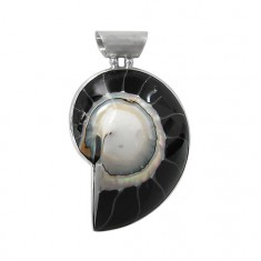 Black Shell Pendant, Sterling Silver