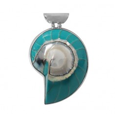 Green Shell Pendant, Sterling Silver