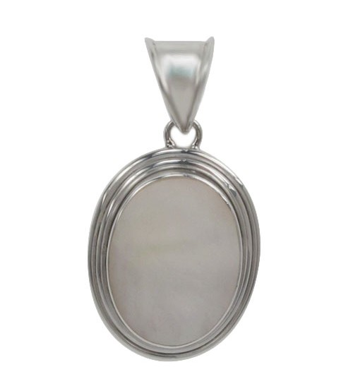 Oval Mother of Pearl Pendant, Sterling Silver