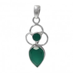 Multi Shape Green Onyx Pendant, Sterling Silver