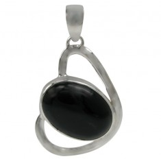 Oval Onyx Pendant, Sterling Silver