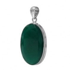 Oval Green Onyx Pendant, Sterling Silver