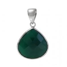Teardrop Green Onyx Pendant, Sterling Silver