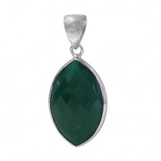 Marquise Green Onyx Pendant, Sterling Silver