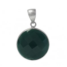 Round Green Onyx Pendant, Sterling Silver
