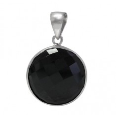 Round Onyx Pendant, Sterling Silver