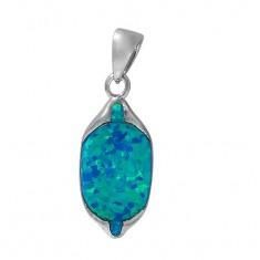 Oval Blue Opal Pendant, Sterling Silver