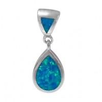 Teardrop Blue Opal Pendant, Sterling Silver