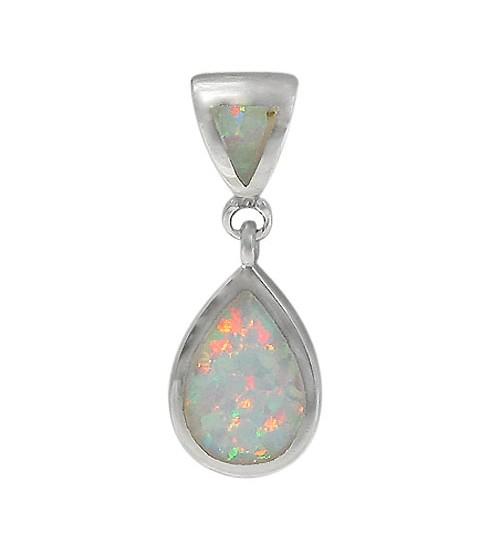 Teardrop White Opal Pendant, Sterling Silver
