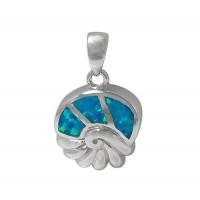 Sea Shell Blue Opal Pendant, Sterling Silver