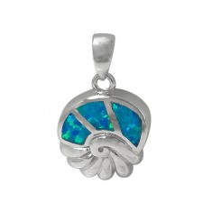 Sea Shell Blue Opal Pendant, Sterling Silver