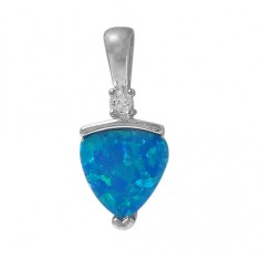 Triangular Blue Opal Pendant, Sterling Silver