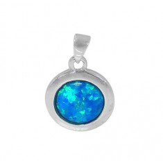Round Blue Opal Pendant, Sterling Silver