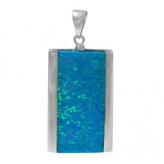 Rectangular Blue Opal Pendant, Sterling Silver