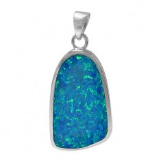 Free Form Blue Opal Pendant, Sterling Silver