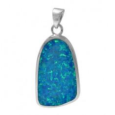 Free Form Blue Opal Pendant, Sterling Silver