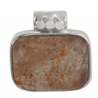 Rectangular Sunstone Pendant, Sterling Silver