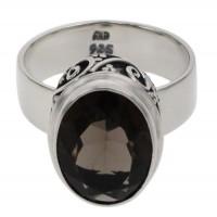 Oval Smoky Quartz Ring, Sterling Silver