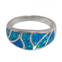 Blue Stone Ring, Sterling Silver