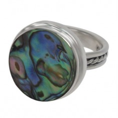 Round Abalone Ring, Sterling Silver