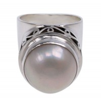 Round White Pearl Ring, Sterling Silver