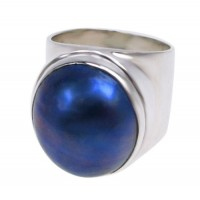 Round Peacock Pearl Ring, Sterling Silver