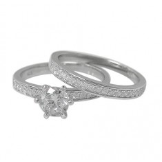 Cubic Zirconia Ring Set - 2pc, Sterling Silver