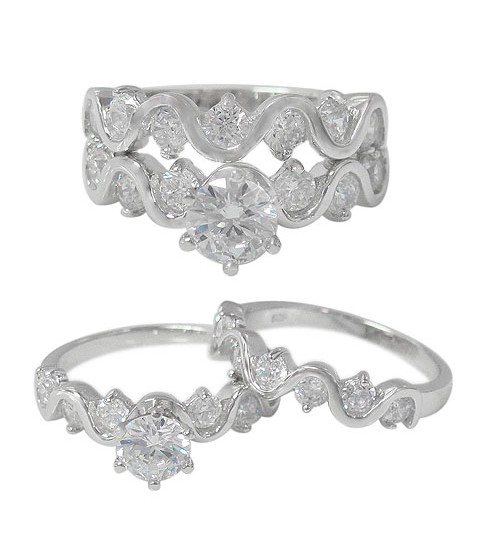 Wavy Ring Set with Faceted Round Cubic Zirconia Stone - 2pc, Sterling Silver