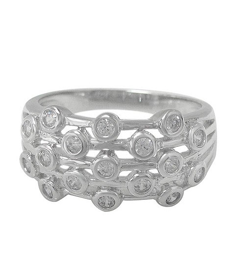 Multi Line Style Ring with Faceted Stone, Sterling Silver