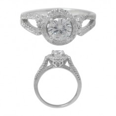 Round Ring with Faceted Cubic Zirconia Stone, Sterling Silver