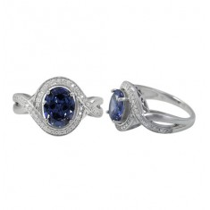 Oval Stone Ring with Multi Cubic Zirconia Stones, Sterling Silver